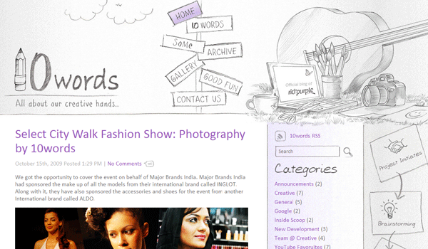 10words 13 Creative and Beautiful Blog Designs