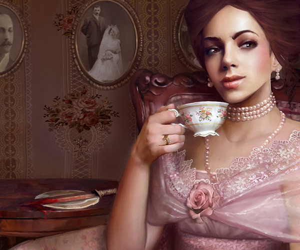 tea time 32 Digital Paintings / Wallpapers To Spice Up Your Desktop by Marta Dahlig