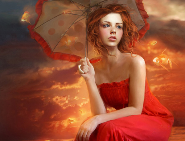 umbrella sky 32 Digital Paintings / Wallpapers To Spice Up Your Desktop by Marta Dahlig