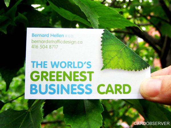 green business card 50 Business Cards Designs That Break The Mold