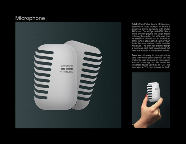 microphone 50 Business Cards Designs That Break The Mold