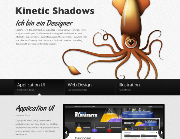 kineticshadows 20 Awesome Examples Of Single Page Web Design