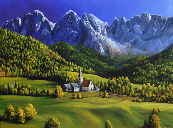 Dolomites by VityaR83 Breathtaking Traditional Digital Paintings by Vitalik   I.D. 23
