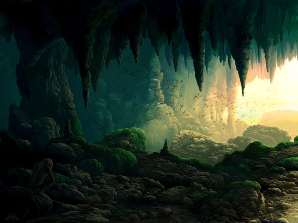 dragon jaws cave by VityaR83 Breathtaking Traditional Digital Paintings by Vitalik   I.D. 23