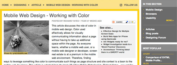 Mobile Web Design - Working with Colour