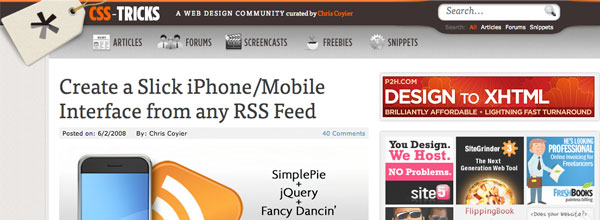 Create a Slick iPhone/Mobile Interface from any RSS Feed