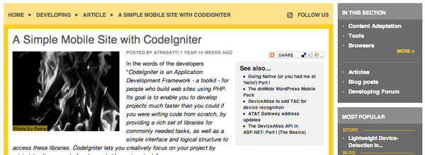 A Simple Mobile Site with CodeIgniter