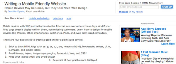 Writing a Mobile Friendly Website