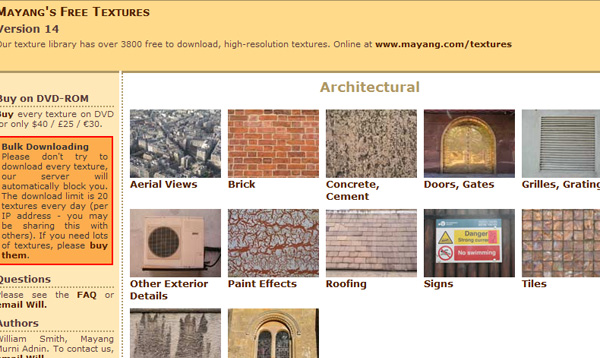 mayang 50 Sites For Discovering Free Textures