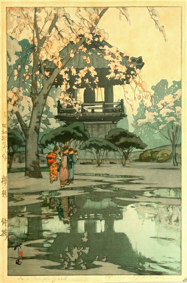 Eight Scenes of Cherry Blossom   In a Temple Yard 1935 Beautiful Wood Block Prints by Hiroshi Yoshida   I.D. 36