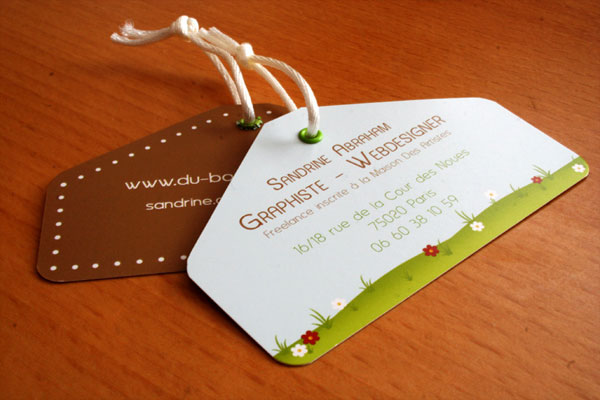 threaded wooden business card