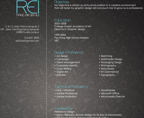 rei 20 Smart and Creative Resume Design