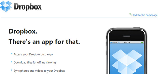 dropbox 80 Best iPhone Application Websites