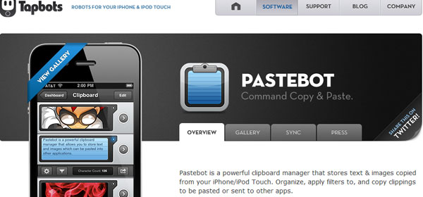 pastebot 80 Best iPhone Application Websites