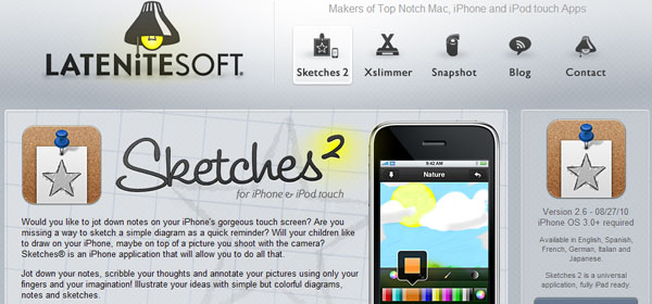 sketches 80 Best iPhone Application Websites