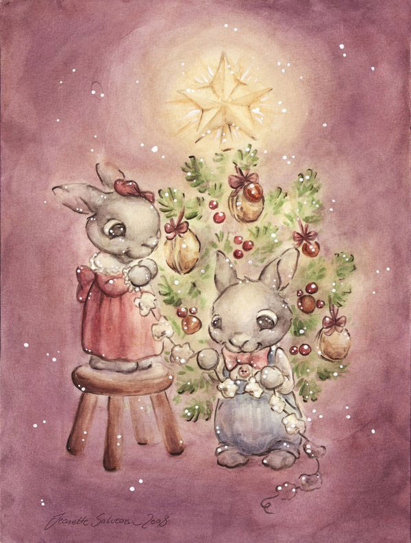 The Rabbit  s Christmas Tree by DreamsOfALostSpirit Adorable Work of Illustrator Jeanette Salvesen   I.D. 58