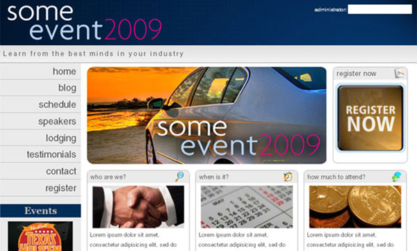 someEvent2009 HOMEPAGE 17 More PSD To HTML Tutorials
