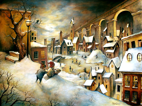 La Ville en hiver by felixgi Paintings by Felix Girard (Canada)   I.D. 60