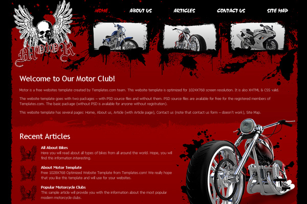 Motor Club free website template