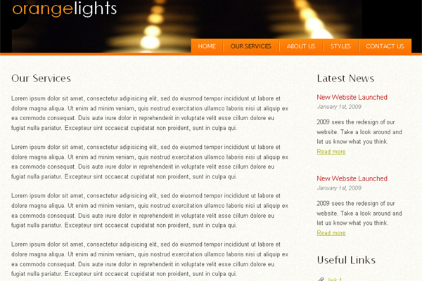 Orange Lights free website template