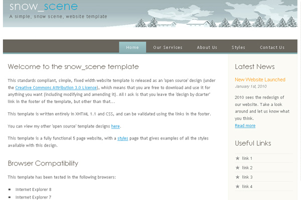 Snow Scene free website template