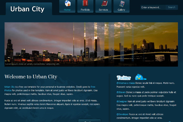 Urban City free website template