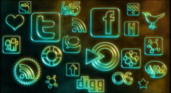 108 Glowing Neon Social Media by WebTreatsETC 84 Massive Social Media Icon Collection
