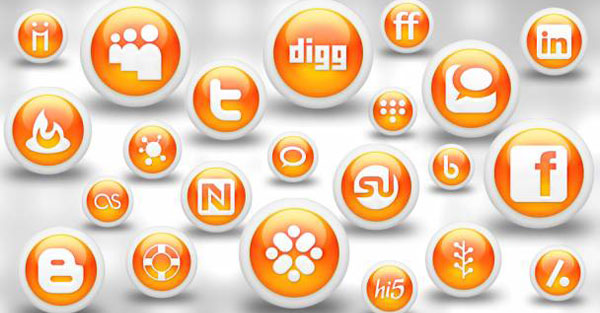 132  608x608 01 glossy orange orb social media icons webtreats preview 84 Massive Social Media Icon Collection
