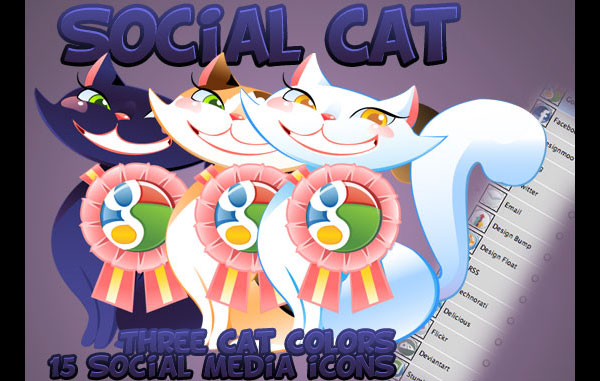 Social Cat Icon Set