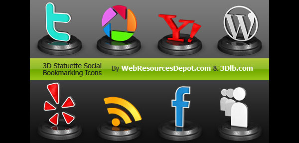 3d social bookmark icons 84 Massive Social Media Icon Collection