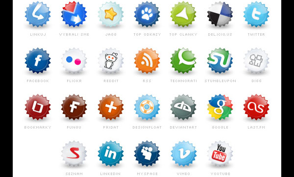 Extended set of social icons by Tydlinka 84 Massive Social Media Icon Collection