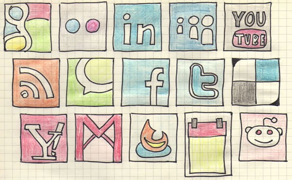 Hand drawn social media icons by rafiki270 84 Massive Social Media Icon Collection