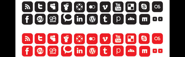 Free Vectors – Social Networking Icons (10 Colors/2 Styles)