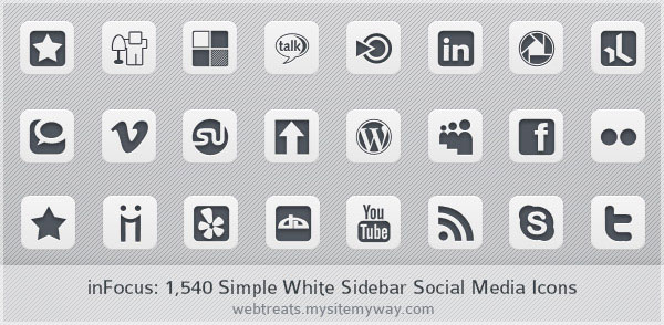 inFocus Simple White Social Media Icons