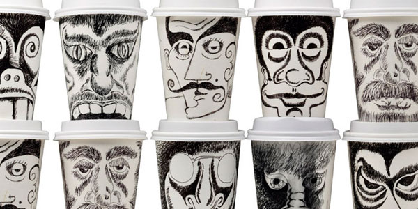 Coffee Cup Face Art