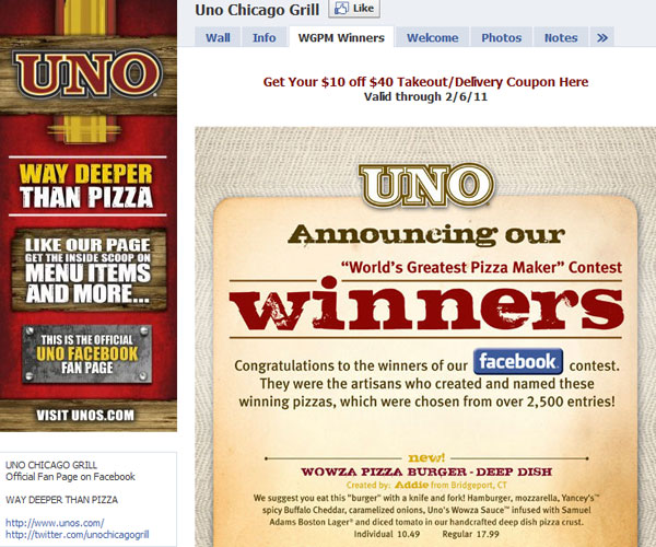 UnoChicagoGrill 20 Top Well Designed Facebook Pages Design