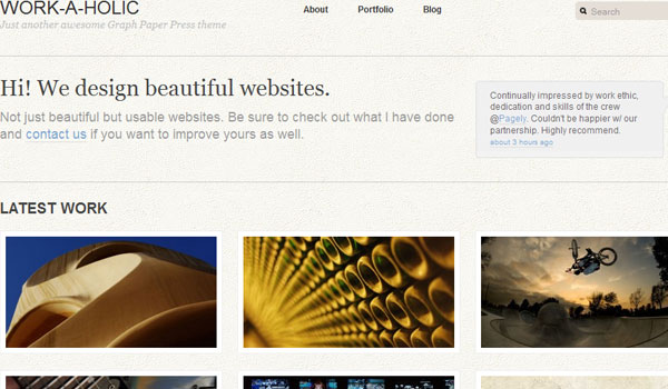 work a holic 25 Free Wordpress Minimal Portfolio Themes
