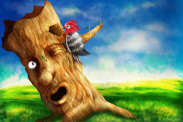 Create a Colorful Woodpecker and Tree Scenery