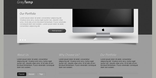 GreyTemp PSD Website Template