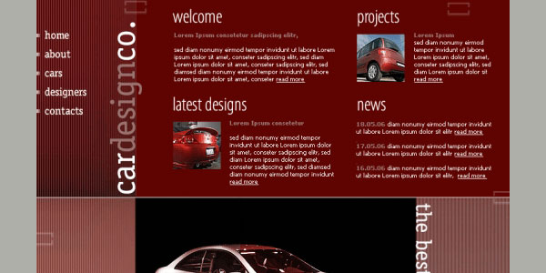 car website template 35 Awesome Free PSD Templates