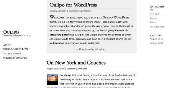 oulipo 110 Free WordPress Themes For 2011