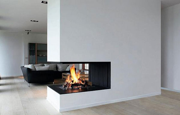 modern architectural metalfire 25 Tempting Fireplace Designs