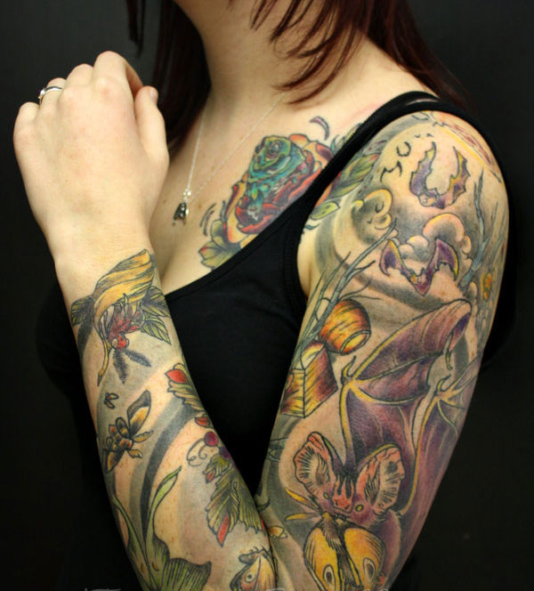 bats and bugs 25 Full Sleeve Tattoo Designs