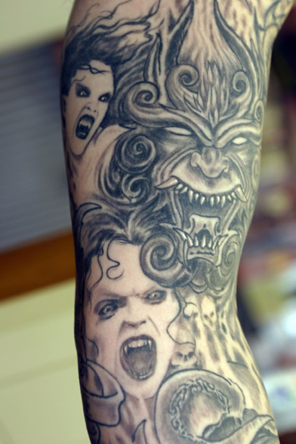 greyCustom Evil arm sleeve cdetail Tattoo