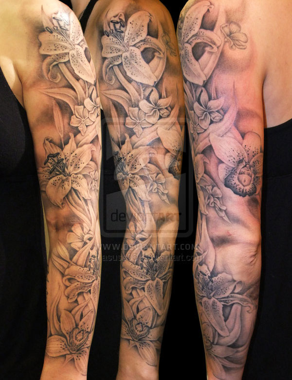 full lily and orchid sleeve