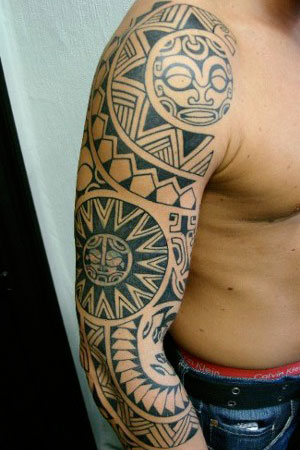 Polynesian on Polynesian Tribal Tattoo 25 Full Sleeve Tattoo Designs