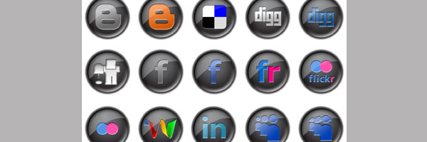 Black Button Social Media Icon