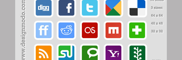 free social bookmark 50 Awesome Social Media Icons & Web 2.0 Icons