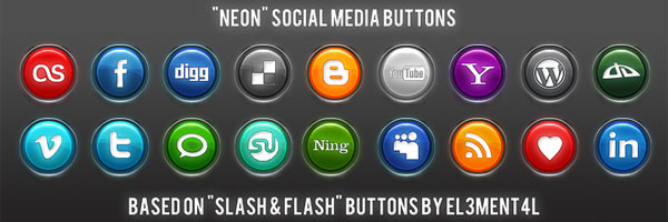 neon social media buttons 50 Awesome Social Media Icons & Web 2.0 Icons