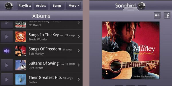 songbird 20 Free Android Media Players